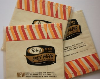 Perkins Shelf Paper - red and yellow striped, retro kitchen, vintage kitchen paper, washable paper