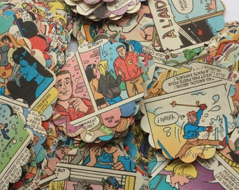 Comic book confetti, 300 Pieces Comic punches, Archie comics,  comic book, comic embellishment, comic book  in French or English