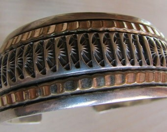 Marc Antia Apache Sterling Silver and 12KGF Heavy Men's Bracelet