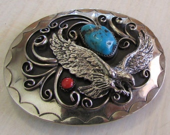 Nickel and Turquoise Buckle with Cast Eagle