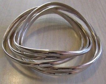 Set of Five Connected Silver Plated Bangle Bracelets