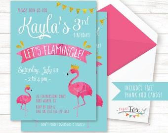 Flamingo Birthday Invitation / Flamingo Party Invitation / Let's Flamingle / Pool Party Invitation / Pool Birthday Invitation / PRINTABLE