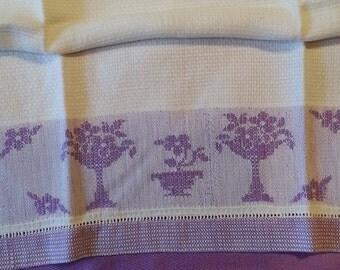 Vintage Huck Kitchen Towel Linen NOS Never Used Purple Floral Basket