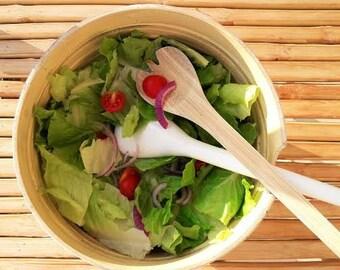 Bamboo Salad Set/White Bamboo Bowl With Matching Servers/ Salad Bowl Set/ Bamboo Salad Spoons With Big Salad Bowl
