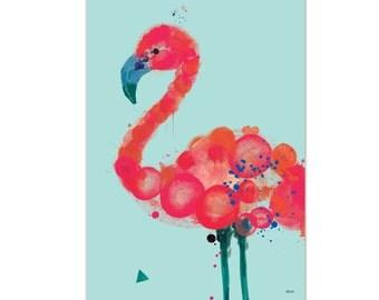 Florence, Flamingo Print A3   Aqua, 320 x 450mm unframed. Fits A3 frame.