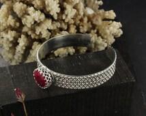 Ruby cuff- Sterling silver cuff - Victorian cuff- Gothic chic cuff - Handmade