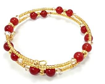 Beaded Memory Wire Bangle / Carnelian Gemstone Bracelet / Minimalist Jewellery / Natural Gemstone and Swarovski Crystal Bracelet