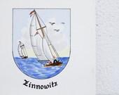 Vintage Fliese Keramik Zinnowitz Ostsee Souvenir Handarbeit Kunst 80er Segelboot Andenken Usedom Maritim Deko Untersetzer