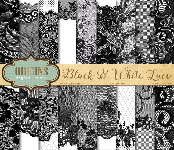 black and white lace digital paper black by