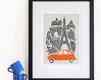 Paris City Print, Cityscape Art, Eiffel Tower, Parisian Poster, French Travel, City Skyline, Mid Century Modern, Retro, Anniversary Gift
