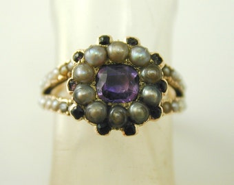Amethyst & pearl antique Georgian ring gold 0.44 carats size L 1/2 ca 1800s bee