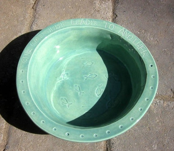 Ceramic Water Bowl for Cats -- Hemingway Quote Large Water Bowl in Pottery Patina Glaze