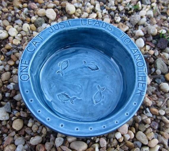 Ceramic Cat Food Bowl -- Hemingway Quote Bowl in Nairobi Blue Glaze