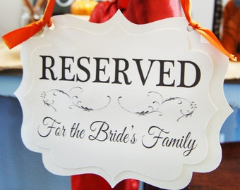 Wedding Reserved Signs - Pew Signs - Chair Signs to Reserve Seating