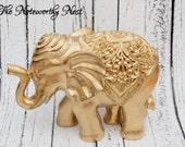 Elephant statue // gold elephant // elephant decor // gold decor // asian decor // hollywood regency // elephant statue // bookshelf decor
