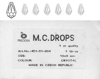 Preciosa MC drops 18x9mm in crystal.  Price is for 10 drops