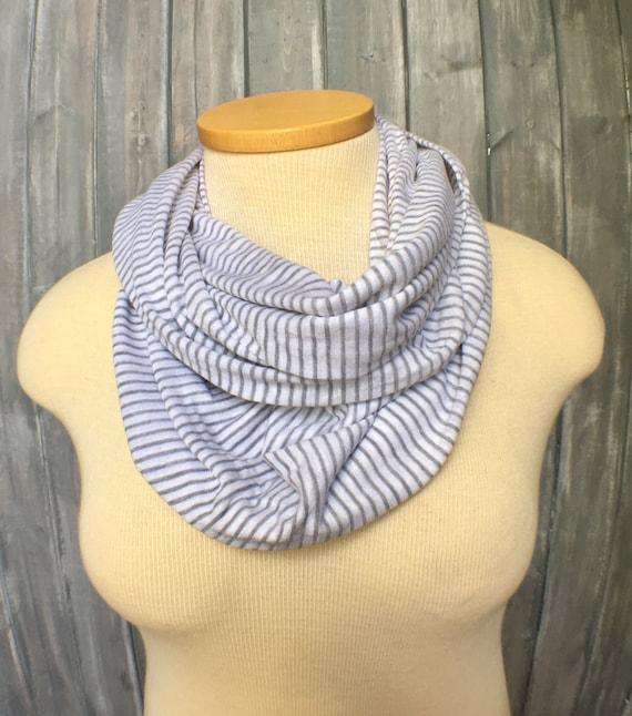 Striped Infinity Scarf Knitting Pattern : Gray Striped Infinity Scarf White Knit Scarf Lightweight