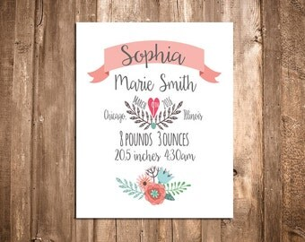 Birth Announcement Wall Art - Personalized Baby Gift - Nursery Decor