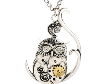 Steampunk Style Owl Pendant Necklace