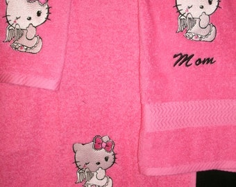 Kitty Angel Personalized 3 piece Towel Set Bathtowel, Handtowel, & Washcloth Any Color