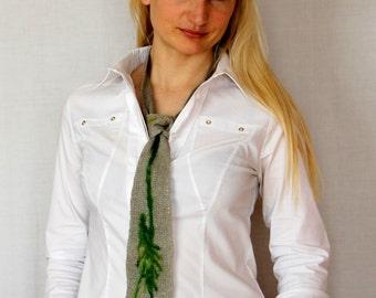 necktie gray linen ,natural linen, women and men