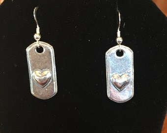 Sterling silver 925 dog tag/ heart earrings