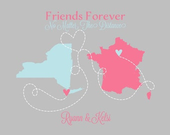 Christmas Gift for Friend, Best Friends Forever, Moving Map, Long Distance Quote, New York, Paris, Baby Blue, Sister, Foreign Exchange, Girl
