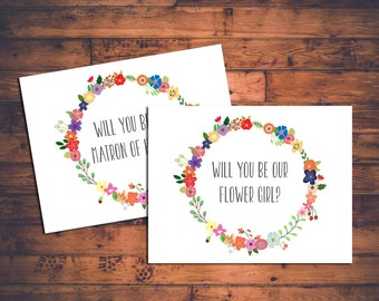 INSTANT DOWNLOAD 25+ in 1! Floral Printable Will You Be in My Bridal Party Cards