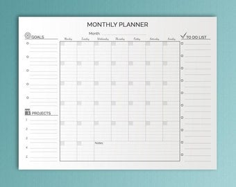 Monthly Planner Big Happy Planner Printable Lined Letter Size Undated Monthly To Do Monthly Wall Calendar Monthly Agenda. Instant Download