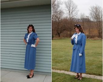 Handmade 1930s-style Jacket and Dress Set / Large / Depression Era / Retro / Vintage