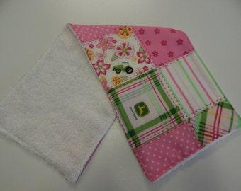 John Deere Pink  Burp Cloth  - One Only - 100% Cotton - Beautiful Gift