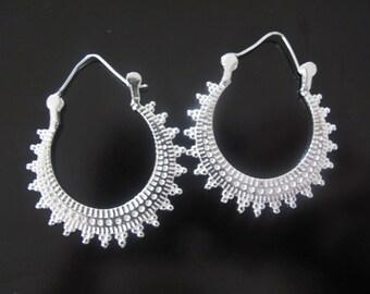 White Brass Earrings, Indian Earrings, Yoga earrings, Tribal Earrings, Ethnic Earrings