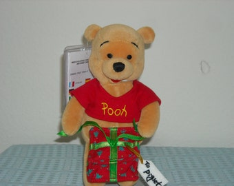 "SALE! 14.99! Disney Winnie the Pooh Mini Beanbag Plush Holding a Gift with a Tag That Reads ""To Piglet""/London Disney Store Only!"