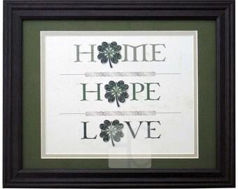 Home Hope Love Shamrock Wall Art Print: Quilling, Home Decor, Wall Art, Irish Decor