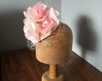 Pink flower pom pom fascinator. Headpiece. Wedding. Wedding guest. Ascot. Ladoes day