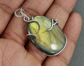 On Sale Yellow Labradorite and Sterling Silver Pendant - Labradorite Necklace -Labradorite Jewelry - Fire Labradorite Cabochon - Large Penda