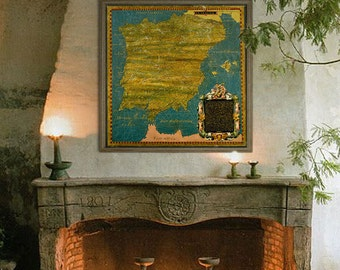 """Map of Spain and Portugal 1577, Old Spanish map, 4 sizes up to 36x36"""" (90x90cm) painted map of Iberian Peninsula - Limited Edition of 100"""