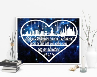 Custom Engaged Gift - Newly Engaged Gift - Just Engaged Gift - Customized Papercut - New York Engagement - Getting Married Gift