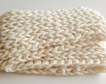 Infinity scarf chunky cream triplelux reversible