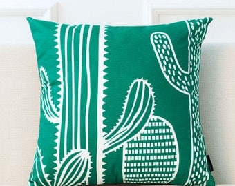 Decorative pillow cover/cactus cushion cover/ Green and white pillow throw/pillow sham
