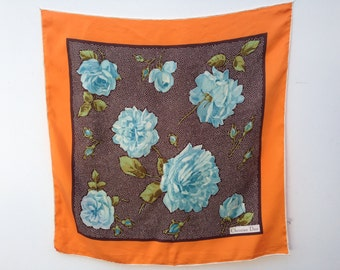 1980 vintage Christian Dior silk scarf orange /brown /light blue floral pattern