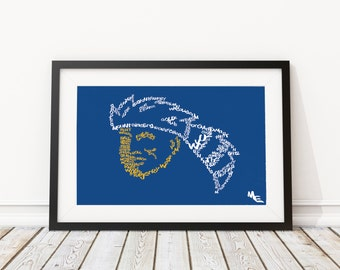 West Virginia Mountaineers Typography, Custom Wall Poster, Digital Wall Print