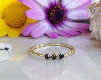 20% off-SALE!!! Black Onyx Ring - Genuine Gemstone - Gold Ring - Birthstone Ring - Tiny Simple Jewelry -  Black Ring - Stack Ring