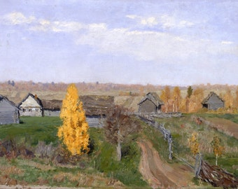 "Golden Autumn, Slobodka by Isaac Levitan, 10""x16"", Canvas Giclee Print"