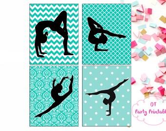 INSTANT DOWNLOAD - Gymnastics Digital Prints - 4 Prints - Printable Wall Print - Gymnastics Decor - Gymnastics Bedroom DIY - You Print