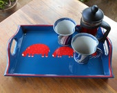 Drinks Tray, Hand Decorated with red Hippos, Bic Blue with red outside line FREE Shipping