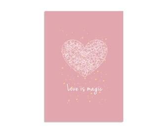 Wall Art print, Heart poster, Love art, Pink poster, Motivetional design, Scandinavian art, Simple art, Minimal poster