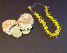 Vintage Doll Slippers and Hawaiian Lei 1960's Baby Clothes Accessories
