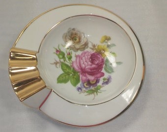 LIMOGES FRANCE - Vintage 90's Dresdon Flowers Porcelain Ashtray