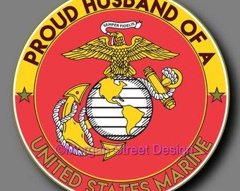 US Marine Husband Die Cut Vinyl Decal Sticker